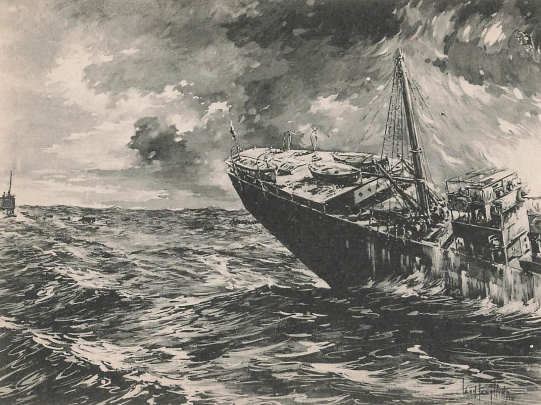 """Scène de la """"piraterie allemande"""": le steamer """"Emma"""" coulé par un sous-marin allemand. Cette dimension navale du conflit est indissociable de la culture de guerre. Carte postale. Collection particulière."""