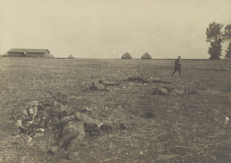 Cadavres allemands après la bataille de la Marne, septembre 1914. La Contemporaine : VAL 089/166.