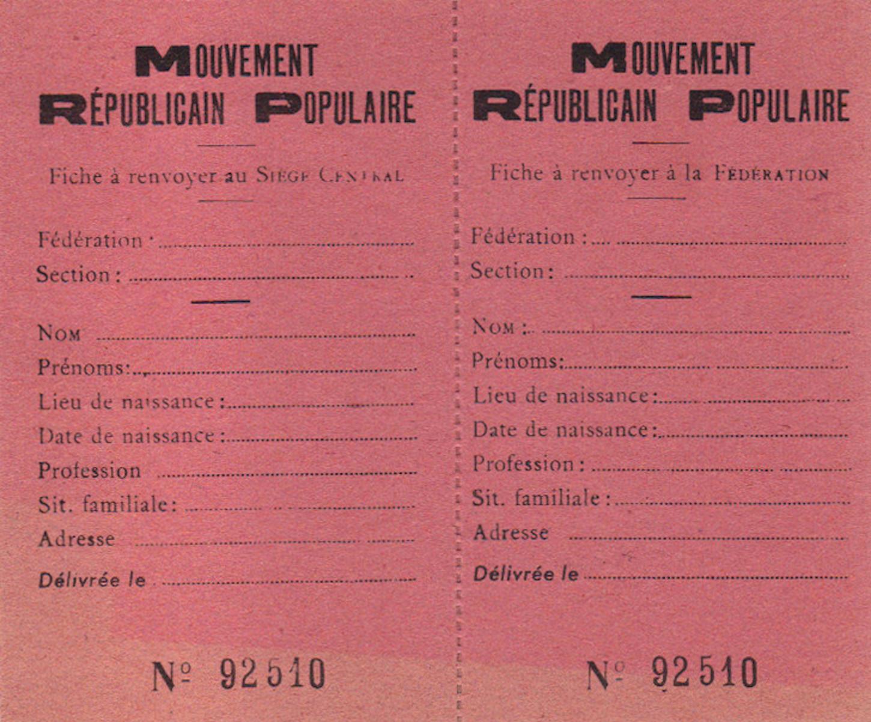 Carte d'adhérent du Mouvement républicain populaire (MRP). Collection particulière.