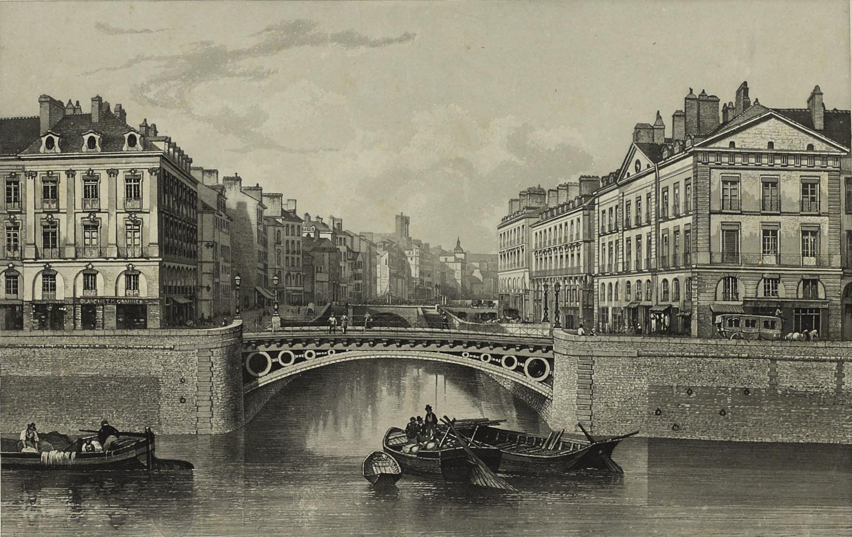 A Nantes, l'embouchure du canal de Nantes à Brest, estampe de Friedrich Salaté. Musée de Bretagne : 2017.0000.2504.