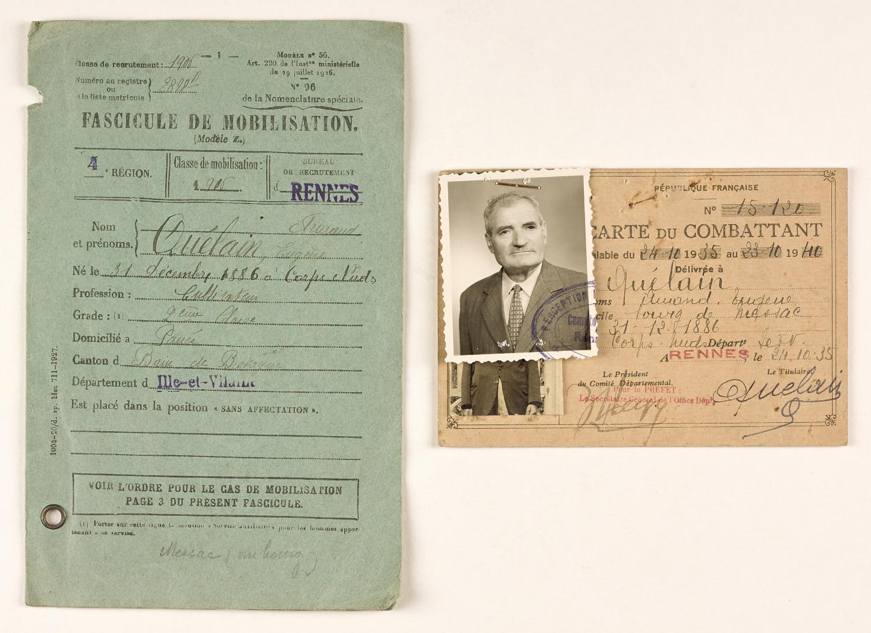 Fascicule de mobilisation et carte du combattant d'un vétéran de la Première Guerre mondiale. Musée de Bretagne : 2013.0007.5.