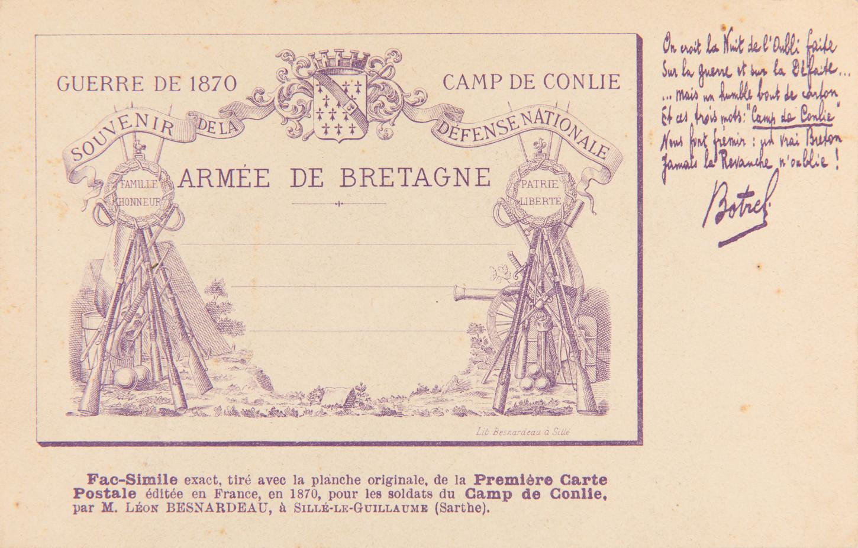 """Carte postale datée de 1902 qui serait un fac-similé de la """"première carte postale éditée en France, en 1870, pour les soldats du Camp de Conlie"""" et présentant des vers de Théodore Botrel. Musée de Bretagne : 2005.0011.202."""