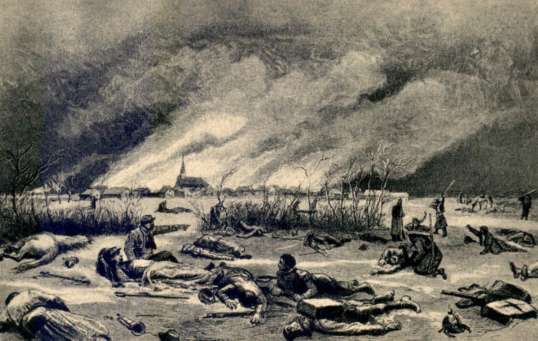 Bataille de Loigny (Eure-et-Loir), 2 décembre 1870 : l'agonie du général de Sonis. Carte postale 'après le tableau de Paul Richer. Collection particulière.
