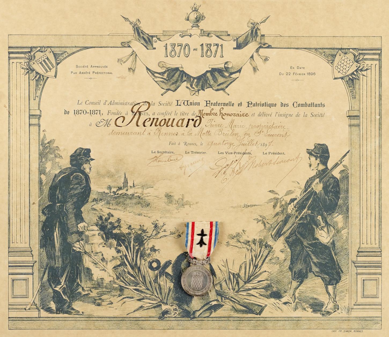 « Diplôme d'honneur » délivré le 14 juillet 1897 par l'Union fraternelle et patriotique des combattants de 1870-1871 à un vétéran dénommé Pierre Renouard et résidant en « la Motte Brulon en Saint-Laurent ». Musée de Bretagne : 995.0026.4.