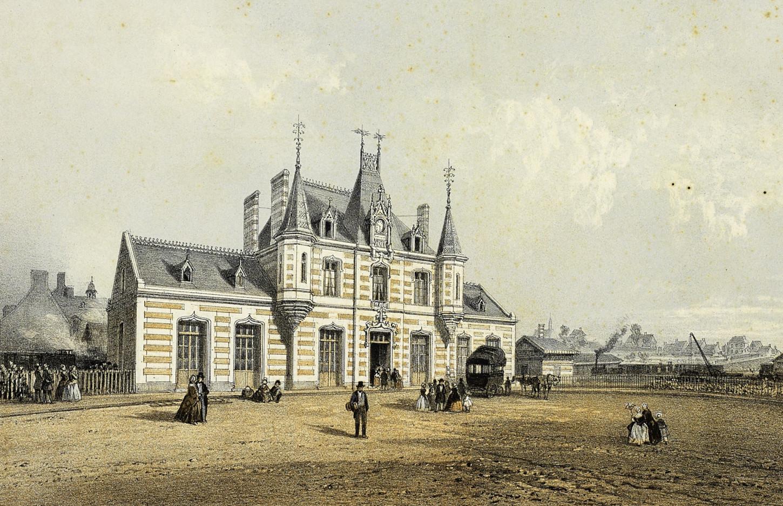 La gare de Vitré, lithographie du XIXe siècle de Louis-Julien Jacottet. Musée de Bretagne : 2017.0000.2120.